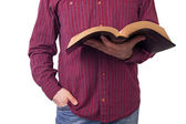 Man Holding a Bible — Stock Photo