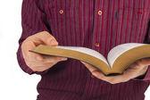 Man reading a bible — Stock Photo
