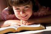Beautiful Girl Reading Holy Bible — Stock Photo