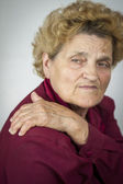 Senior woman having back ache — Stock Photo