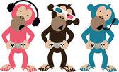 Three monkeys — Stock Vector