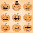 Happy Pumpkin Faces for Halloween — Imagen vectorial