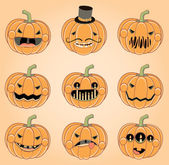 Happy Pumpkin Faces for Halloween — Stock Vector