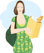 Mother with paper bag — Stock Vector