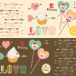 Happy valentines day cards with boy and girl — Stock Vector #39695557