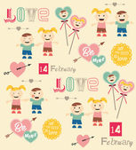 Happy valentines day cards with boy and girl — Stock Vector