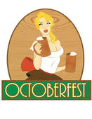 Pretty blond girl with beer, Oktoberfes — Stock Vector
