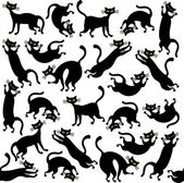 Cartoon seamless pattern with cats — Stock Vector