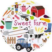 Swee farm pattern — Stock Vector