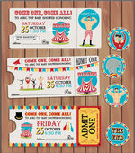 Birthday card with Circus Ticket — Stockvector