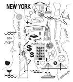 Cartoon map of new york city — Stock Vector