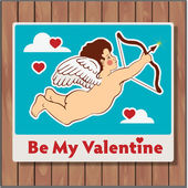 Be my valentine card with cupid — Cтоковый вектор