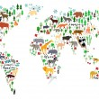 Cartoon animal map of the world for children and kids — Stock Vector #51019605