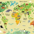 Cartoon animal map of the world for children and kids — Stock Vector #51019611