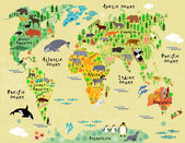 Cartoon animal map of the world for children and kids — Stok Vektör