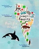 子供と子供のための世界の漫画動物の地図。南アメリカ — ストックベクタ