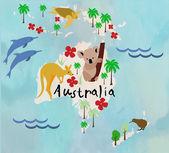 Cartoon animal map of the world for children and kids.Australia — Stock Vector
