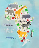 Cartoon animal map of the world for children and kids. Africa — Stock Vector