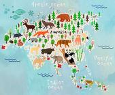 Cartoon animal map of the world for children and kids.Eurasia — Stock Vector