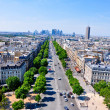 The Champs-Elysées seen from the Arc de Triomphe. - Stock Photo
