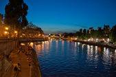 Seine's quay at night. Paris. — Stock Photo