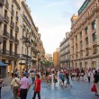 Stock Photo: Shopping street in Barcelona.