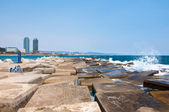 Barceloneta beach. Barcelona, Spain. — Stock Photo