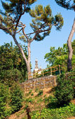 Vy över templet från poble espanyol. barcelona. — Stock fotografie