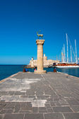 Mandraki harbor and bronze deer on Rhodes island, Greece. — Stock Photo