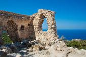 Ruins of castle near Monolithos village. Rhodes, Greece. — Stock Photo