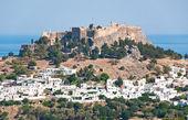 Visão geral de lindos, na ilha de rodes, grécia. — Fotografia Stock