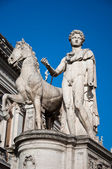 The statues of Castor and Pollux with their horses. Rome, Italy. — Stock Photo
