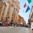 Stock Photo: ROME-AUGUST 7: The Via del Corso on August 7, 2013 in Rome. The Via del Corso commonly known as the Corso, is a main street in the historical centre of Rome.