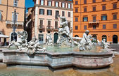 ROME-AUGUST 8: Fountain of Neptune on August 8,2013 in Rome, Italy. The Fountain of Neptune is a fountain in Rome, Italy, located at the north end of the Piazza Navona. — ストック写真