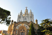 BARCELONA-JULY 25:The Temple Expiatori del Sagrat Cor on the summit of Mount Tibidabo on July 25, 2009 in Barcelona, Catalonia, Spain. — Stock Photo