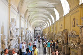 VATICAN - JULY 20: Galleria delle Statue on July 20, 2010 in Vatican Museum. The Vatican Museums are the museums of the Vatican City and are located within the city's boundaries. — Stock Photo