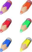 Zes kleur kleurpotloden — Stockvector