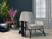 Interior da sala com papel de parede floral — Fotografia Stock