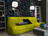 Living room interior with floral wallpaper — Stock Photo