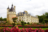 Famoso castelo chenonceau, vista do jardim. vale do loire, fr — Foto Stock