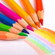 Stock Photo: Many different colored pencils
