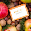 Christmas food background with blank note close up — Stock Photo #14194866