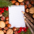 Stock Photo: Paper bordering with christmas decoration