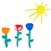 Barevné květy z dětské hry — Stock fotografie
