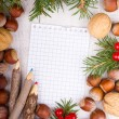 Paper bordering with christmas decoration — Stock Photo