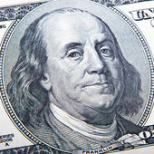 Close-up portrait of Franklin with hundred dollar bills — Stock Photo