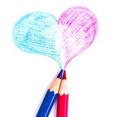 心と白い背景で隔離の鉛筆 — ストック写真