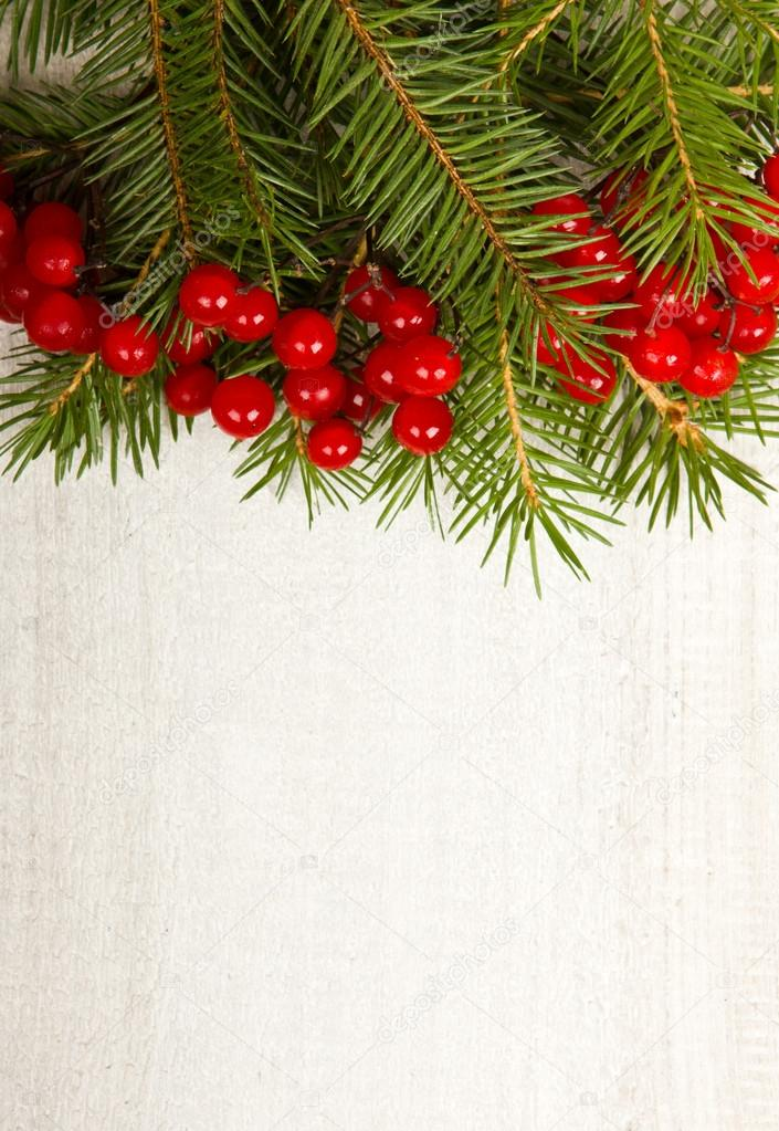 Christmas fir tree on the wooden board — Stock Photo #14968399