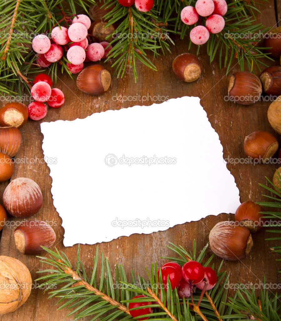 Paper bordering with christmas decoration  Stock Photo #14969065