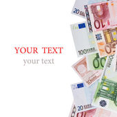 Euro money banknotes isolated on white — Foto Stock